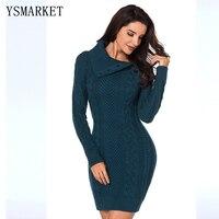 Asymmetric Buttoned Collar Grey/Blue/Black Bodycon Sweater Dress Knit Fabric Long Sleeve Mini Dress Ladies Sexy Clubwear AL27864