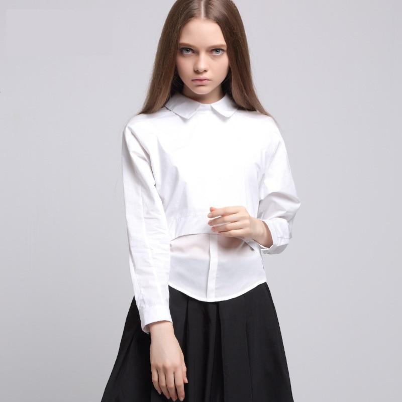 b8d5d73ca2349 2016 new Women girl white asymmetrical chiffon stitching shirt blouses  boyfriend style shirt street wear fashion