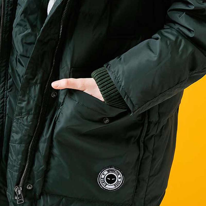 Toyouth למטה מעיל החורף ארוך סלעית למטה מעיילי 80% לבן ברווז למטה Parka נקבה לעבות חם מוצק ירוק הלבשה עליונה מעיל