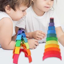 12 Pcs/Lot Baby Toys Rainbow Blocks Wooden Rainbow Stacker Nesting Puzzle Creative Montessori Building Blocks Educational Toys