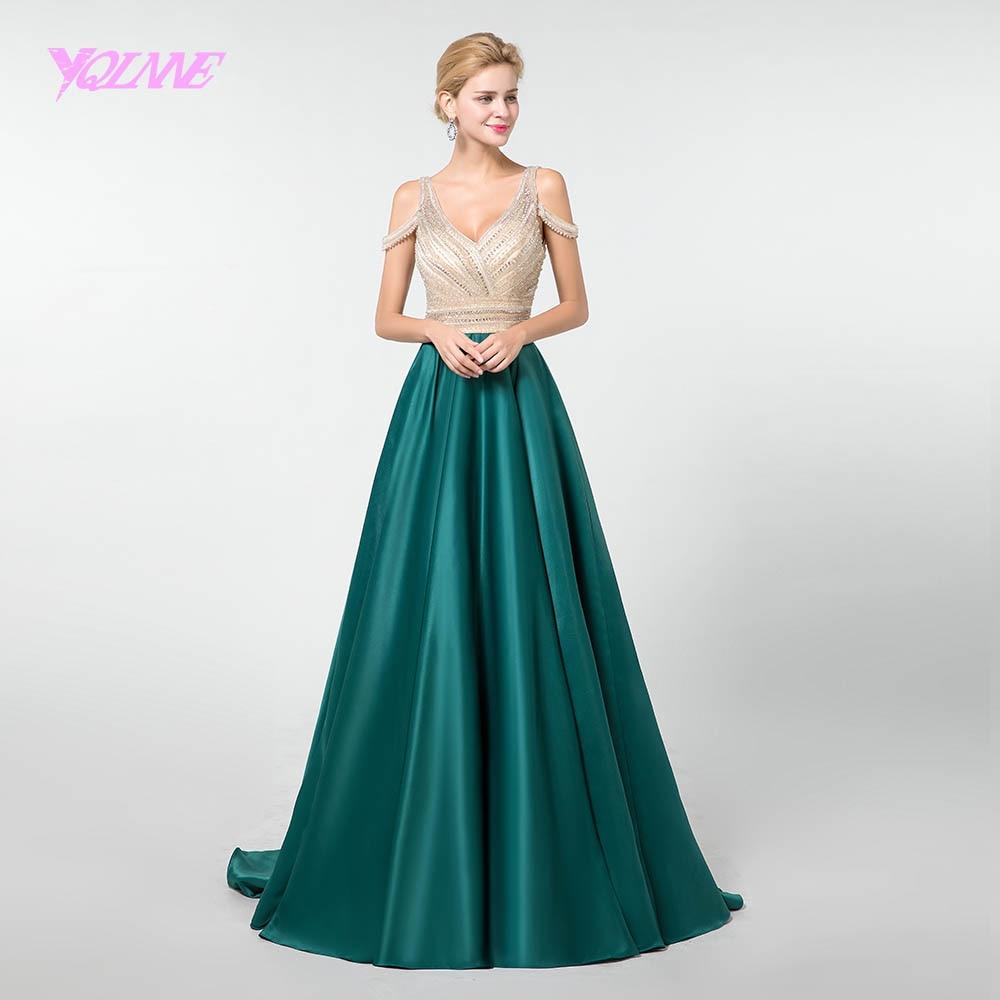 YQLNNE Dark Green Satin Prom Dresses Long 2019 Formal Dress Crystals Backless YQLNNE