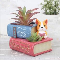 Творческий смолы мясистый цветочный горшок Ремесла настольные украшения собака корги украшения в горшках