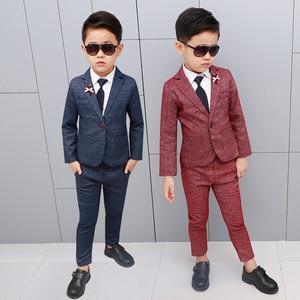 Image 3 - Marka kwiat chłopcy odzież zestaw dzieci elegancka suknia ślubna marynarka koszula spodnie krawat do garnituru dzieci Prom ceremonia kostium F009