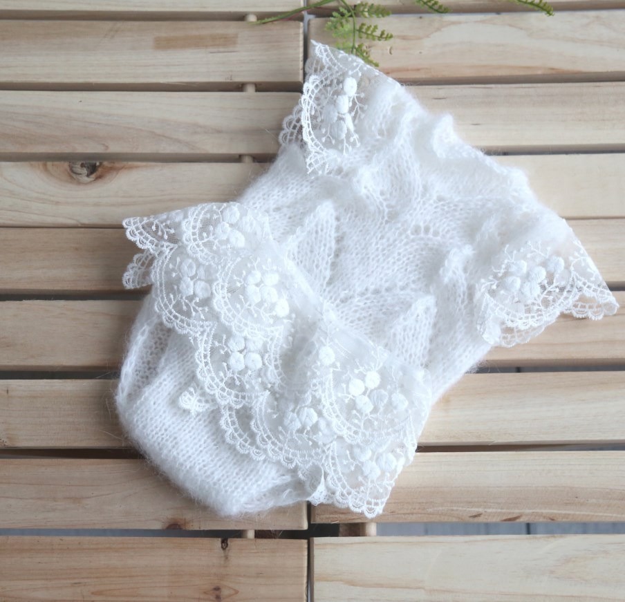 Soft White  Lace Romper Set Newborn Photography Props Knitted Mohair Overalls Baby Girl Lace Skirt Infant Bodysuit Shower Gift