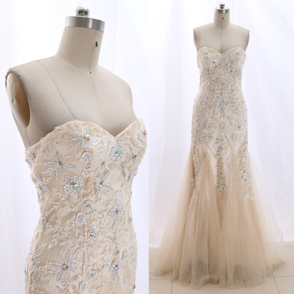 MACloth Champagne Mermaid Strapless Floor-Length Long Embroidery Tulle   Prom     Dresses     Dress   M 265826 Clearance