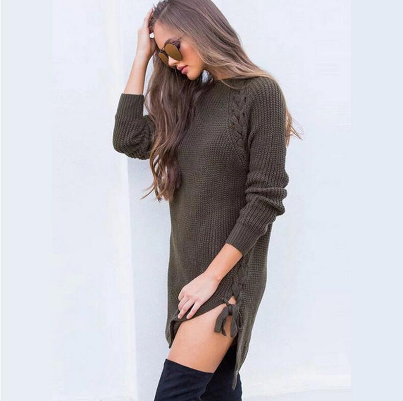 2017 autumn and winter bursts of goods side of the tie with a twist braid long sleeves sexy wool dress female
