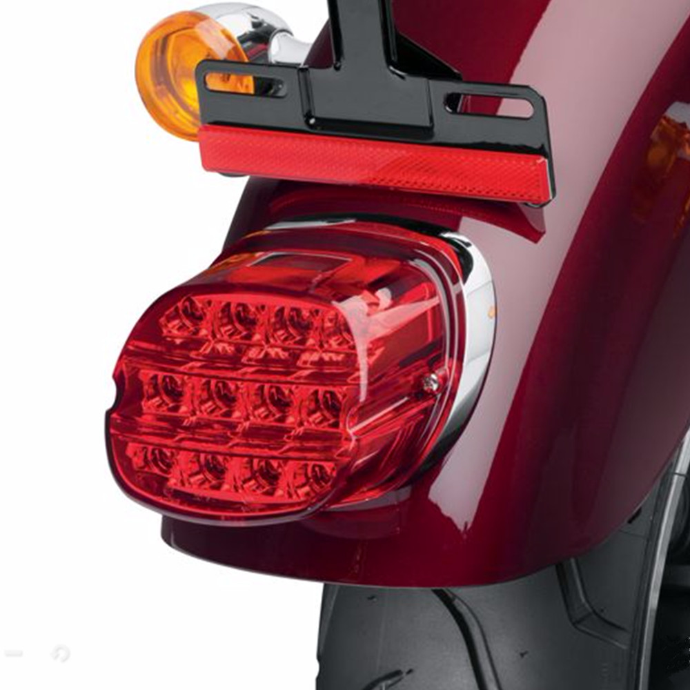 Motorcycle LED Light Smoke Tail Light 12v License Plate Rear Lamp For Harley Dyna Super Wide Glide Low Rider Fat Bob motorcycle vinyl black tank pad bra guard shield sheet for harley dyna super wide glide low rider street fat bob fxdse fxd