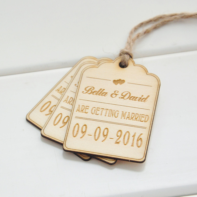 Save The Date Wood Card 50 Rustic Favor Tags Wedding Wooden