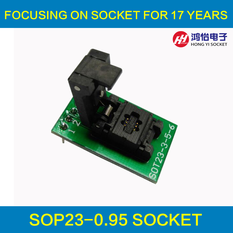 SOT23-6-0.95 Clamshell Pogo Pin Probe Test Socket SOT23-6-0.95-CP01PNL Programming Socket Pitch 0.95 Chip Size 1.6*3mm sot23 3 sot23 5 sot23 6 test socket head seep sot23 programmer adapter for gang 08 programmer