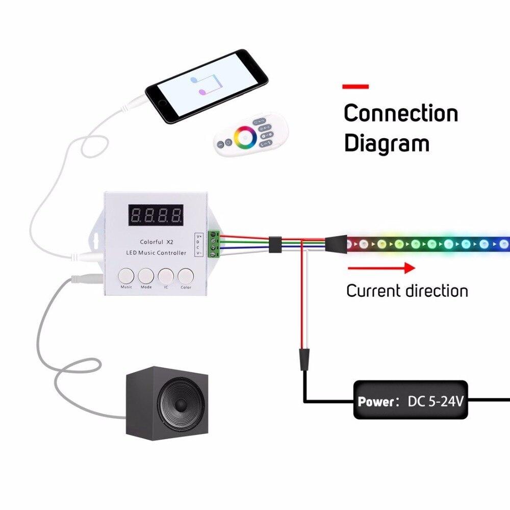 Controladores Rgb max 1000 pixels Luzes Aplicáveis : Ws2811/ws2812b/ws2813 ic Led Strip