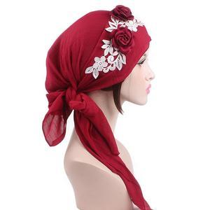 Image 2 - 8 個の女性イスラム教徒のヘッドスカーフ花化学及血帽子アラブイスラムターバン事前縛ら帽子バンダナがんキャップファッションランダムな色