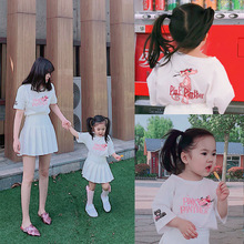2019 summer mother and daughter baby girls Tshirt  cute fashion  TEE short-sleeved white cotton tshirt for 3 to 16 years girl