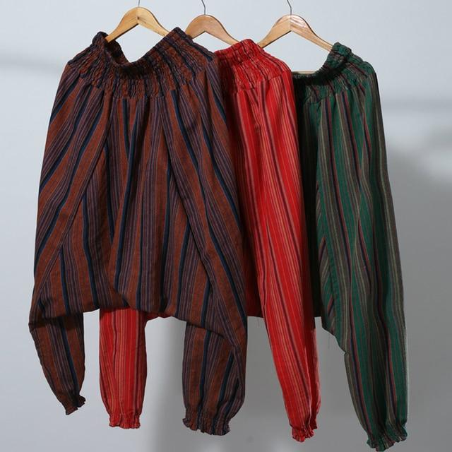 Elastic Waist Men Cotton Linen Stripe Big Crotch Pants Hippy Aladdin Harem Wide leg Ninja Casual Pants Full Length Trousers L-XL 5