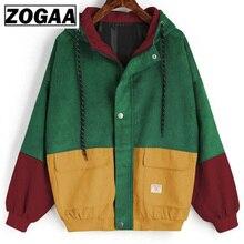 Winter Hooded Corduroy Jacket Long Sleeve Harajuku Windbreaker Pocket Color Patchwork Autumn Coats Plus Size Bomber Jackets 3XL