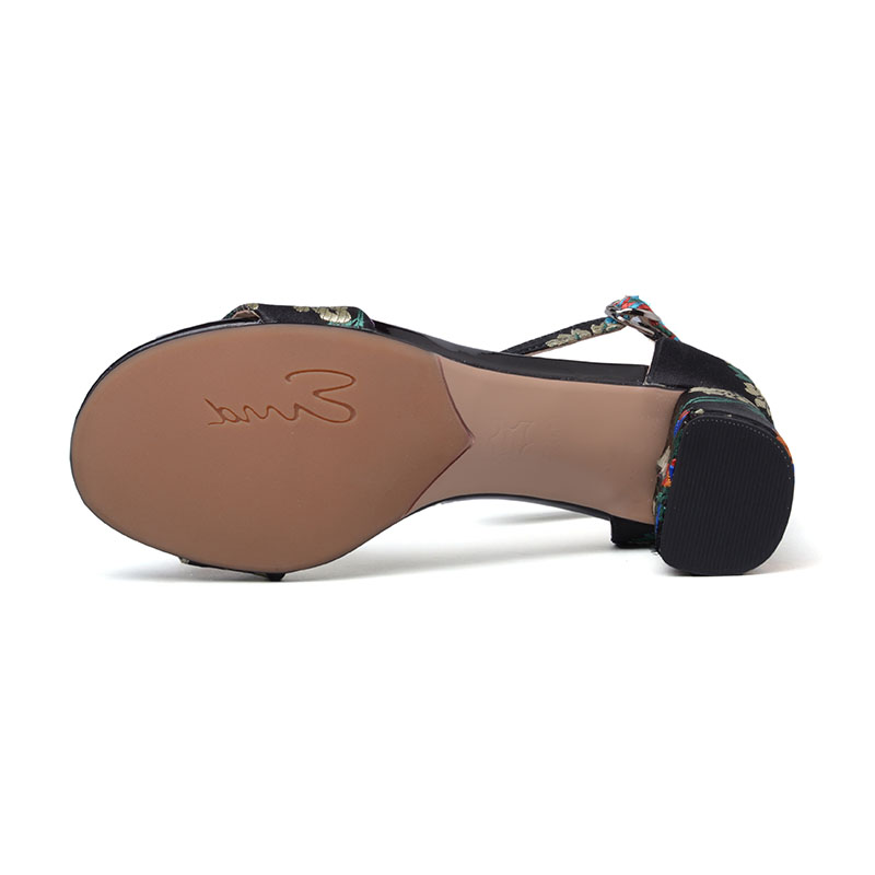 Noir D'été jaune Hauts Cheville Talon Mode Toe Soirée De Femmes Talons À Épais Noir Broder Bride Chaussures Sandales La Marque Peep wnFf4