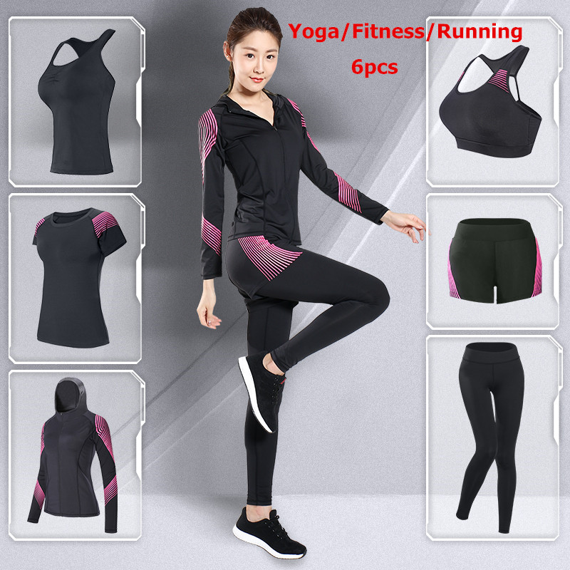 LEFAN New Fitness Suits Women Yoga Clothes Gym Running Tracksuit 5-6pcs Sport Fitness Training Sets Female Sport Clothes Suits