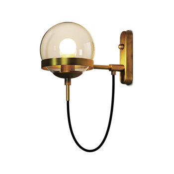 Modern Minimalist Hotel Bedside Industrial Wind Wrought Iron Glass Ball Wall Lamp Home Decoration Lamps ZP426102