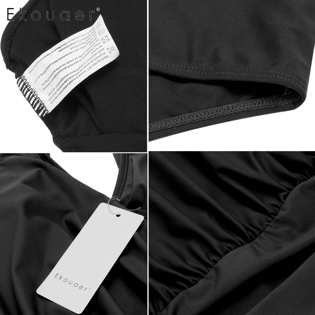 Ekouaer Sexy Women Oblique Cross One-Piece Bikini Front Pleated Solid Swimwear V Neck Slim Bathing Suit Swimsuit 5