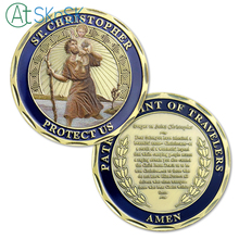 1/3/5/10pcs ST. Christopher Patron Saint of Travelers Challenge Coin Protect Us Prayer to collectibles Gift
