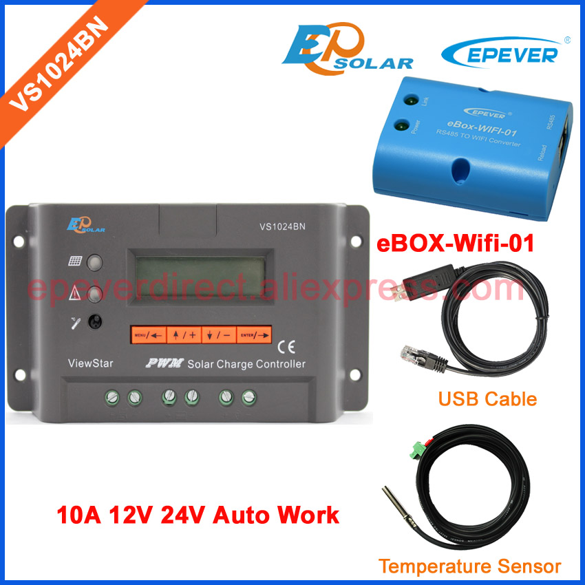 PWM system charging regulator VS1024BN 24V 10A with two cables USB and temperature sensor box wifi function 10amp EPEVER PWM system charging regulator VS1024BN 24V 10A with two cables USB and temperature sensor box wifi function 10amp EPEVER