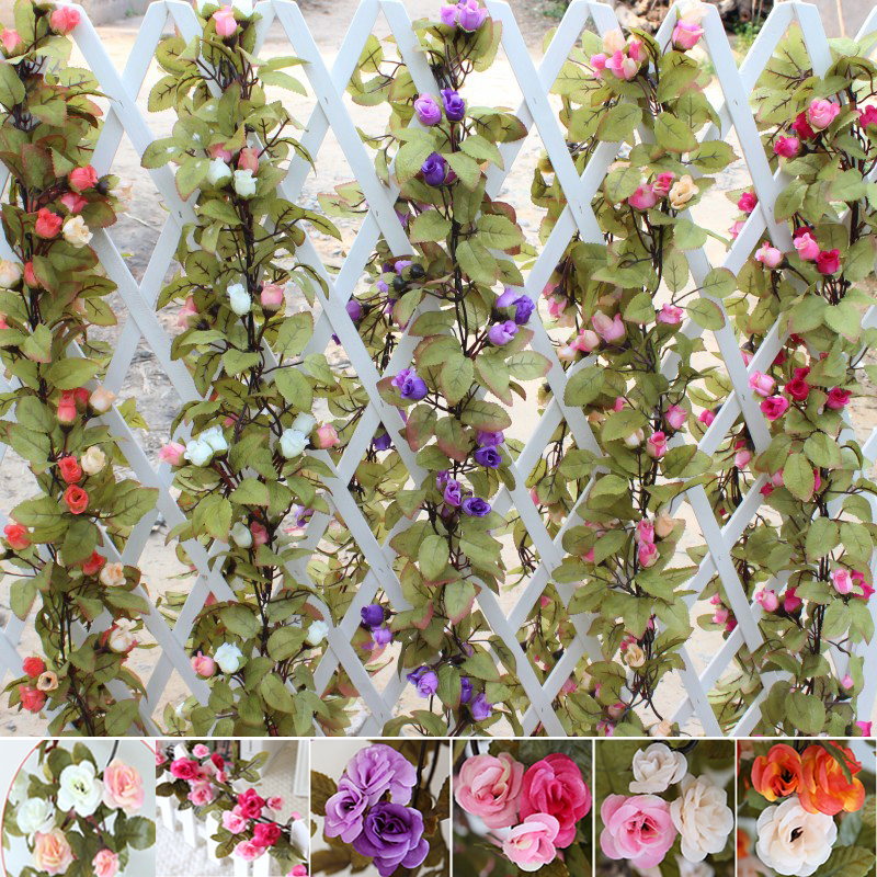 230cm wedding decoration fake silk roses ivy vine artificial flowers 230cm wedding decoration fake silk roses ivy vine artificial flowers with green leaves hanging garland for junglespirit Image collections