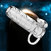 Reusable Condoms Cock Ring Extender Sexy Toys Vibrating Penis Sleeve Enlarger Fo