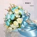 2017 Невесты Свадебный Букет Новый Дешевые Кот & Бирюзовый Свадебные Цветы Свадебные Букеты Искусственные Свадебный Букет Роза Пион