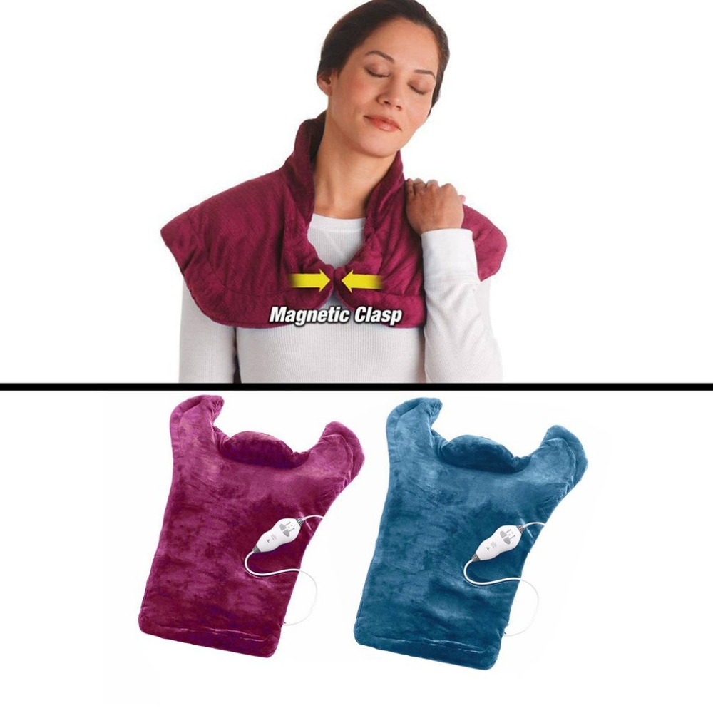 Flannel Warm Electric Heated Health Relief Wrap Neck Shoulder Back Therapy Muscles Pain Relief Pad Massaging Heat Wrap Massager quality physiotherapy electric heating vest back support shoulder pad vest heated shawl suitable for back pain relief