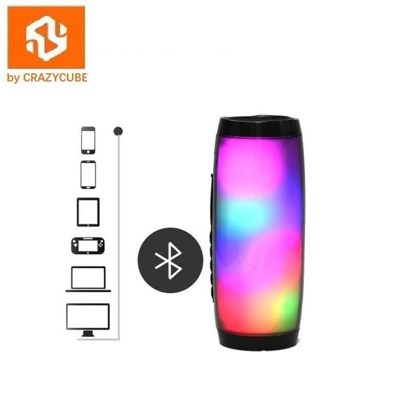 CrazyCube импульсный светодиодный беспроводной портативный bluetooth-динамик лучше, чем jbl с fm-радио 10 Вт двойной пассивный бас объемный стерео