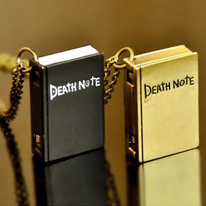 Vintage Chain Pendant Necklace Relogio Masculino Pocket Watch Unique Death Note Book Shape Quartz Pocket Watch Montre VL
