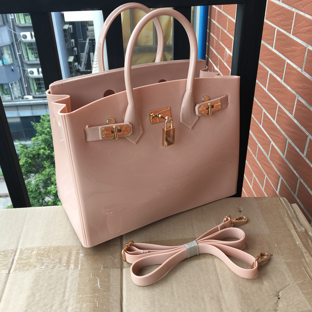 New Silicone Jelly Inspired Birkin Handbag Padlock Designer Women Messenger Bag