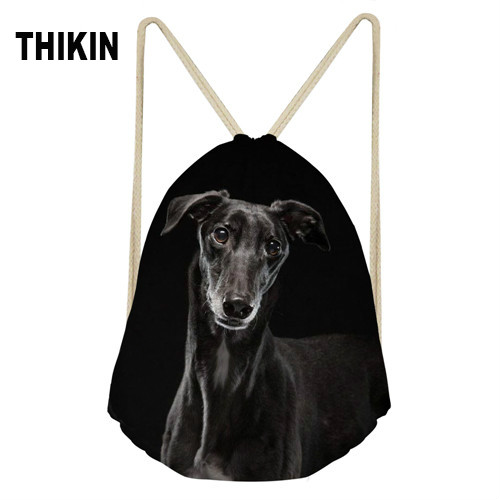THIKIN Designs 3D Animal Dog Dark Grey Italian Greyhound Printed School Girls Drawstring Bag Small Women Bags Cool Beach Bags