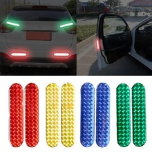 2PCS Car Door Reflective Sticker Warning Tape Car Reflective Stickers Safety Mark Reflective Strips Car-styling car vehicle safety reflective stickers green size l pair