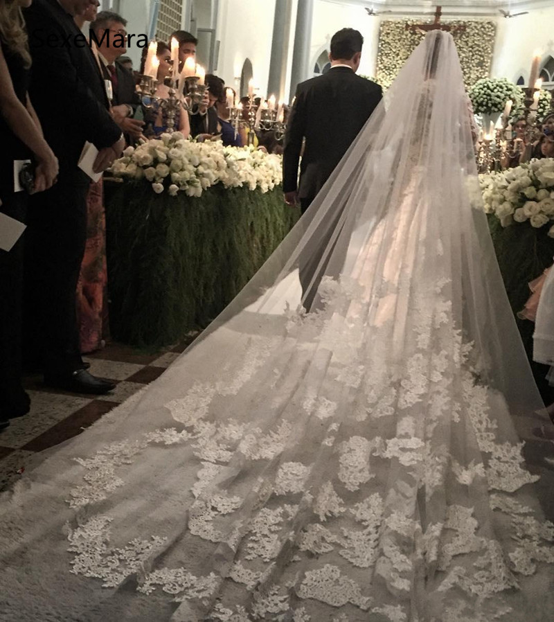 New White Bridal Veils Cathedral Length Lace Wedding Veils 3m Long Bride Veils Custom Made One Layer Bridal Veil with Comb
