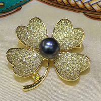 Sinya Natural Tahitian Pearls Brooch Flower Clover Phoenix bird design Gold plated Brooches New year arrival Christmas gift 2018