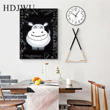 Abstract Nordic Canvas Printing Wall posters Art Home Cute Hippo decoration painting for Living Room  DJ202