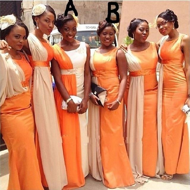 Fashion Color Mixed Long Bridesmaid Dresses Orange Beige Two Tone Formal Dress For Sheath