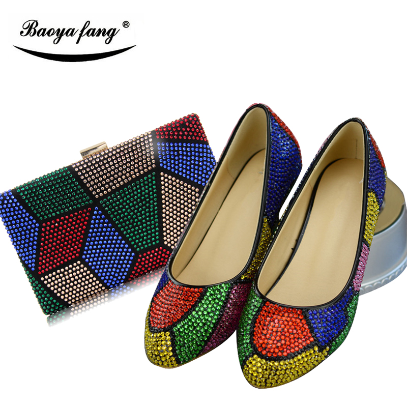 BaoYaFang New Multicolor crystal 2cm wedges women wedding shoes  with matching bags woman low heel fashion shoes and bags set doershow african shoes and bags fashion italian matching shoes and bag set nigerian high heels for wedding dress puw1 19