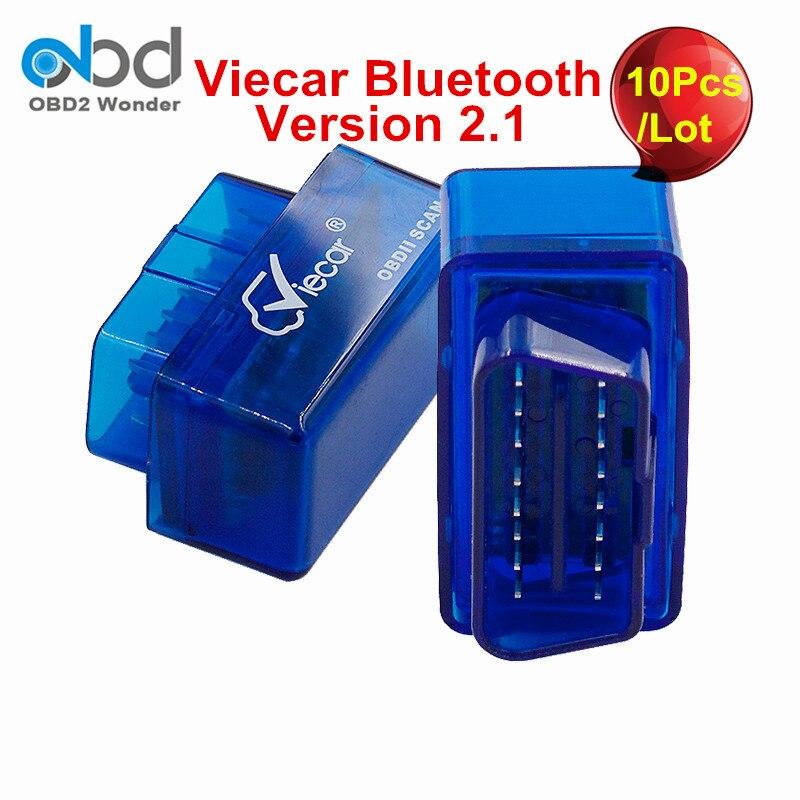 imágenes para 10 Unids/lote Viecar Ventas Al Por Mayor ELM327 Bluetooth MINI OLMO 327 OBD2 Escáner Para Coches Multimarca Auto Herramienta de Diagnóstico Libre gratis