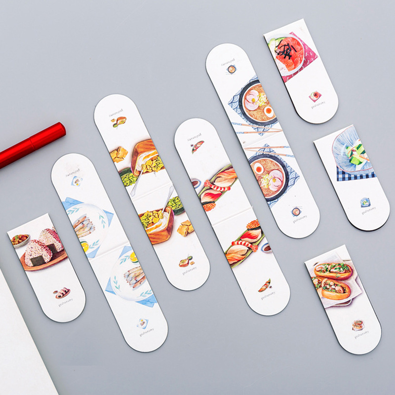 4 Pack Delicious Food Magnet Bookmark Set Bread Rice Vegetable Noodle Bookmarks Clips Cartoon Stationery School Supplies F025