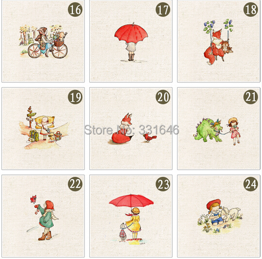 Wholesale! 24pcs/lot 20*20cm Cartoon Hand-Dyed Cotton Linen Fabric Diy Sewing Craft Patchwork Applique Accessores for Bag
