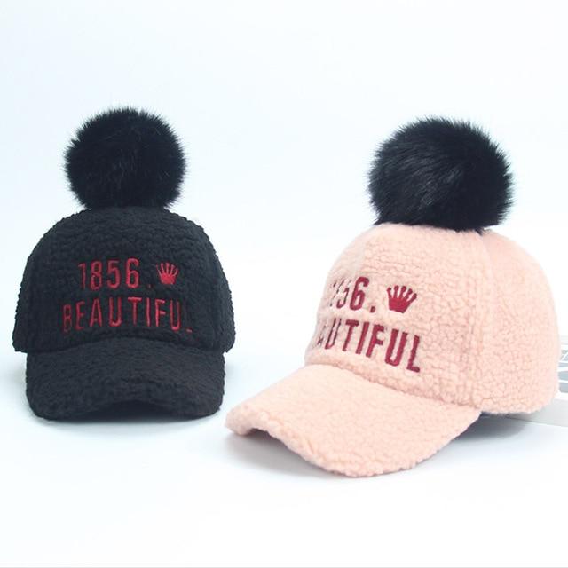 a4fd29bd9 Children Winter Cute Pom Poms Hat for Kids Girl Snapback Toddler ...