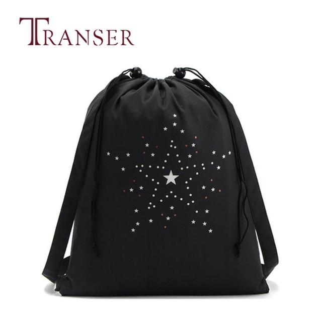 b9080b3a1b4 TRANSER Black Women String Solid Drawstring Backpack Drawstring Shoe  Backpacks Bag Schoolbag Storage Backpack High Quality Sep1