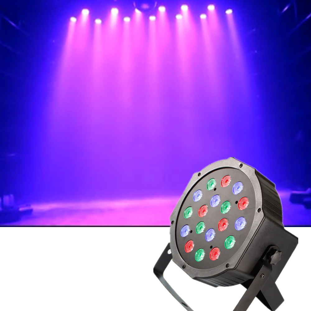 AUCD Mini 18 Pcs RGB Red Green Blue Leds LED Par Can Stage Lighting Disco DJ Club Effect Wedding Show DMX Strobe Light LE-Par18