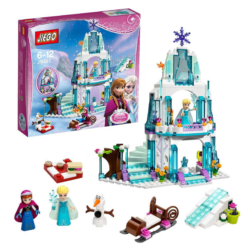 3 style Dream Princess Frozen Castle Elsa Ice Castle Princess Anna Stacking Building Blocks Bricks Toy Compatible With-in Blocks from Toys & Hobbies
