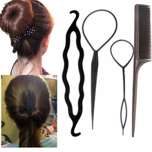 4Pcs/Set Women Fashion Hair Twist Styling Clip Practical Bun Maker Braid Tool DIY Kits Braiding