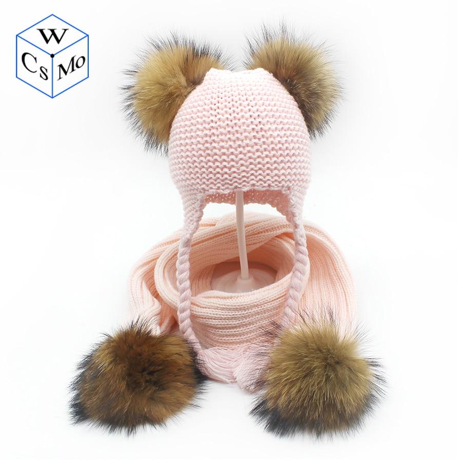 Children Hats Scarf Set For Boys Girls 1-3Y Popular Pom Pom Pigtail Winter Warm Beanie Hats