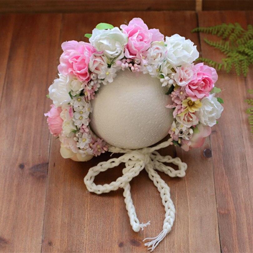 Handmade knit baby girl flower bonnet Newborn Floral hat Crochet Baby bonnet photography props hat