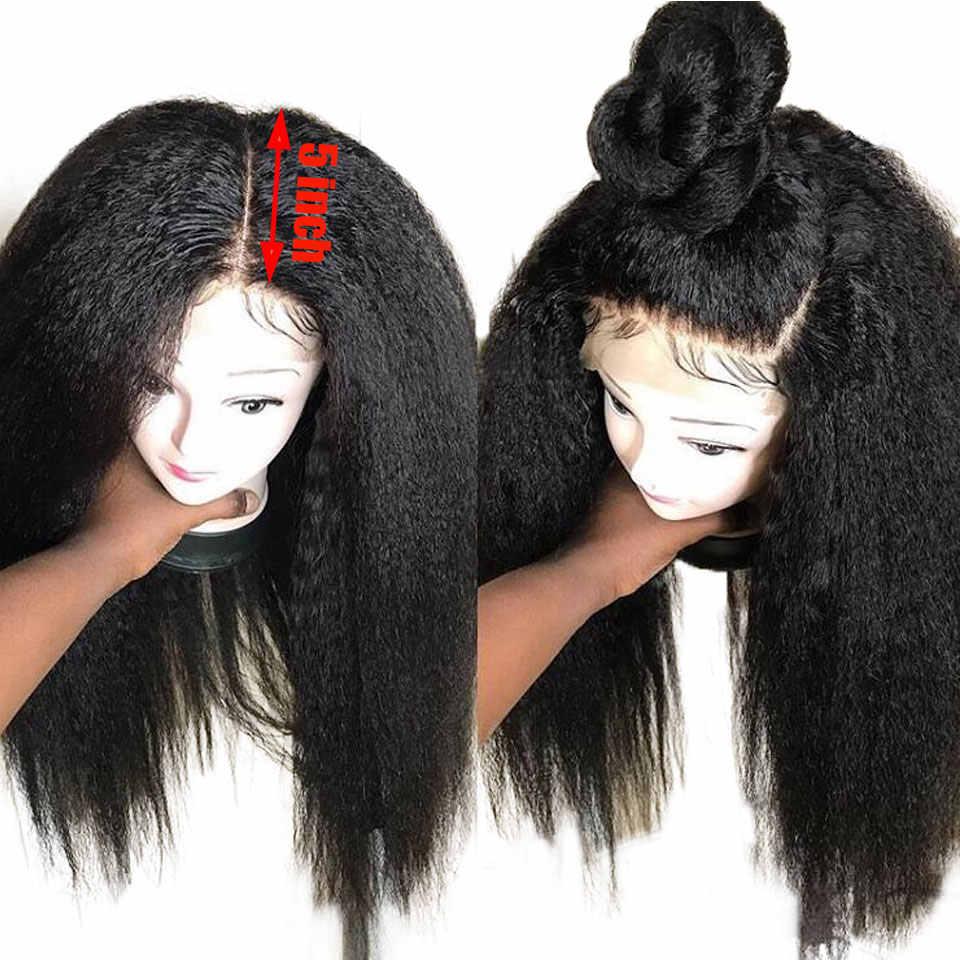 Kinky Straight 360 Кружева Фронтальные Парики 150% Бразильские Волосы Реми 5 дюймов Глубокая Часть парик фронта шнурка предварительно сорвал с волосами ребенка