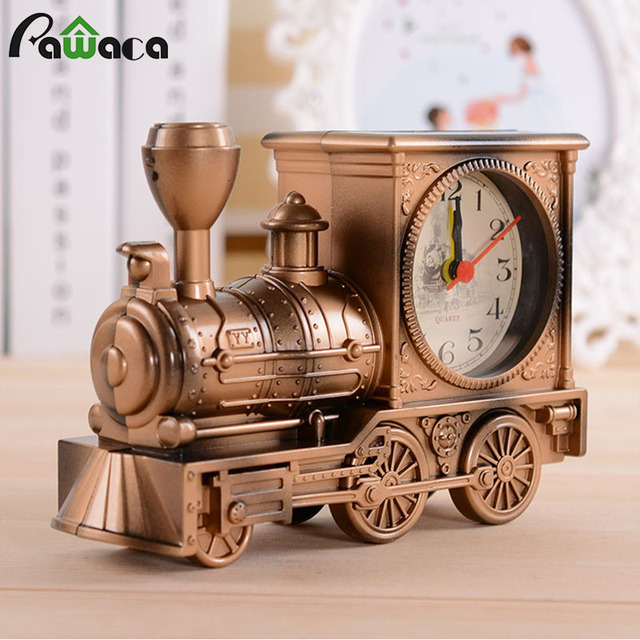 Retro Train Engine Style Clocks Desk Decoration Mechanical Alarm Clock  Digital Locomotive Novelty Home Office Decor